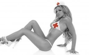 Обои Сексуальная медсестричка: Лифчик, Медсестра, Красный крест, Девушки