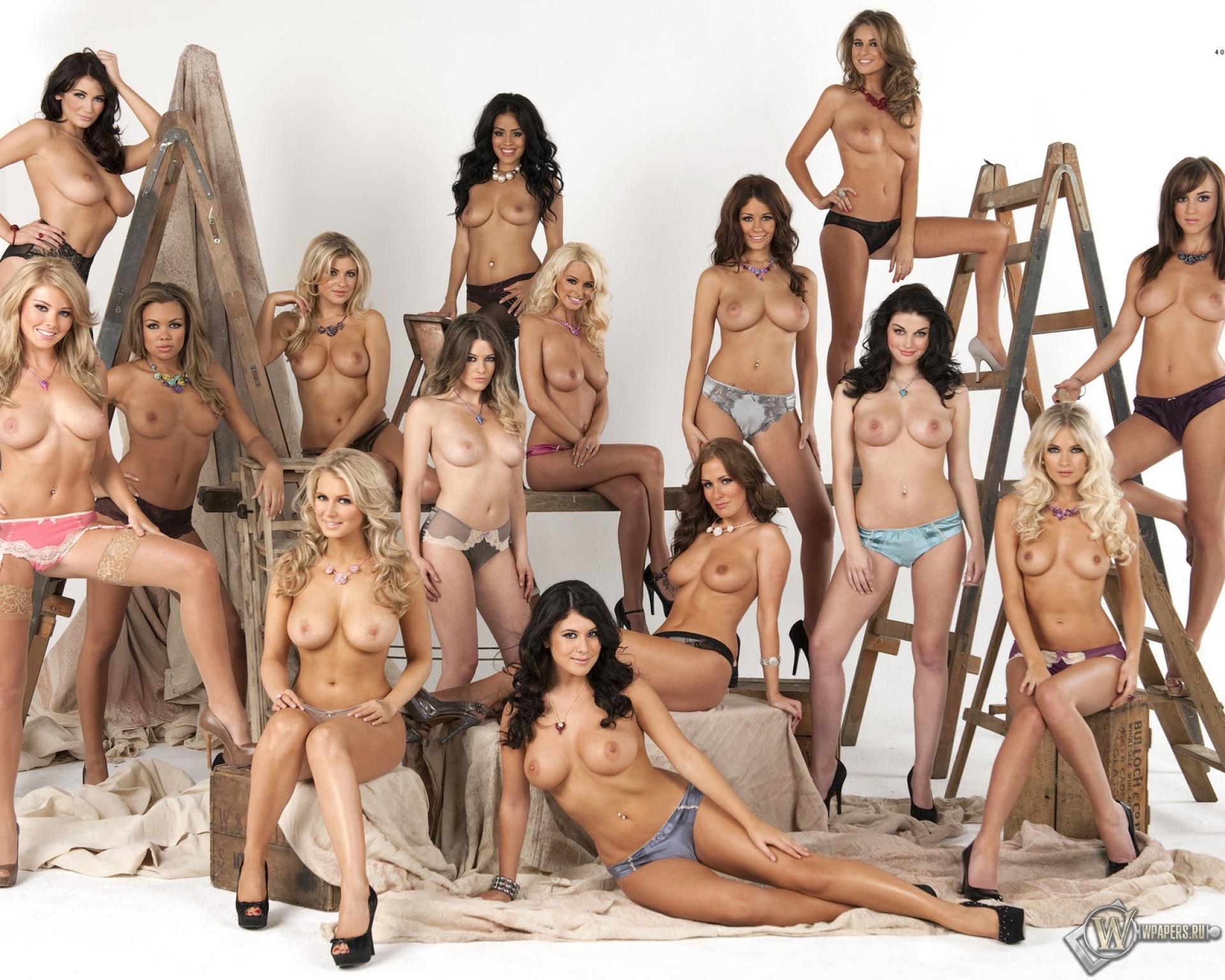 Фото с большим количеством голых женщин на одной фотографии дрочит
