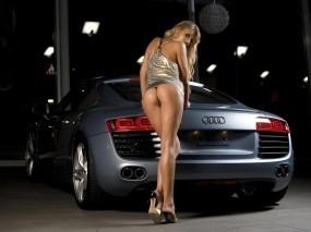 Обои Возле Ауди R8: Девушка, Блондинка, Audi R8, Авто с девушками, Автомобиль, Девушки