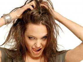 Обои Angelina Jolie: Взгляд, Angelina Jolie, Язычок, Волосы, Angelina Jolie