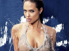 Обои Мокрая Анджелина Джоли: Грудь, Вода, Angelina Jolie, Анджелина Джоли, Мокрая, Angelina Jolie