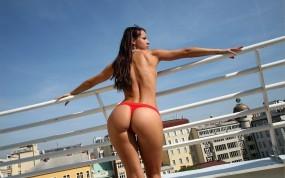 Обои Melisa Mendiny: Стринги, Попа, Балкон, Melisa Mendiny, Мелисса Мендини, Melisa Mendiny