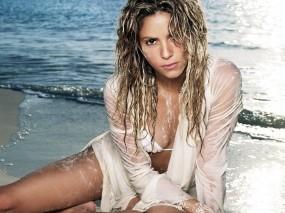 Обои Шакира: Вода, Девушка, Берег, Шакира, Мокрые девушки