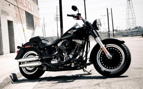 Обои Чёрный Harley-Davidson: Здание, Мотоцикл, Электросеть, Harley-Davidson, Мотоциклы