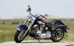 Обои Тёмно-синий Harley-Davidson: Мотоцикл, Harley-Davidson, Летнее поле, Мотоциклы
