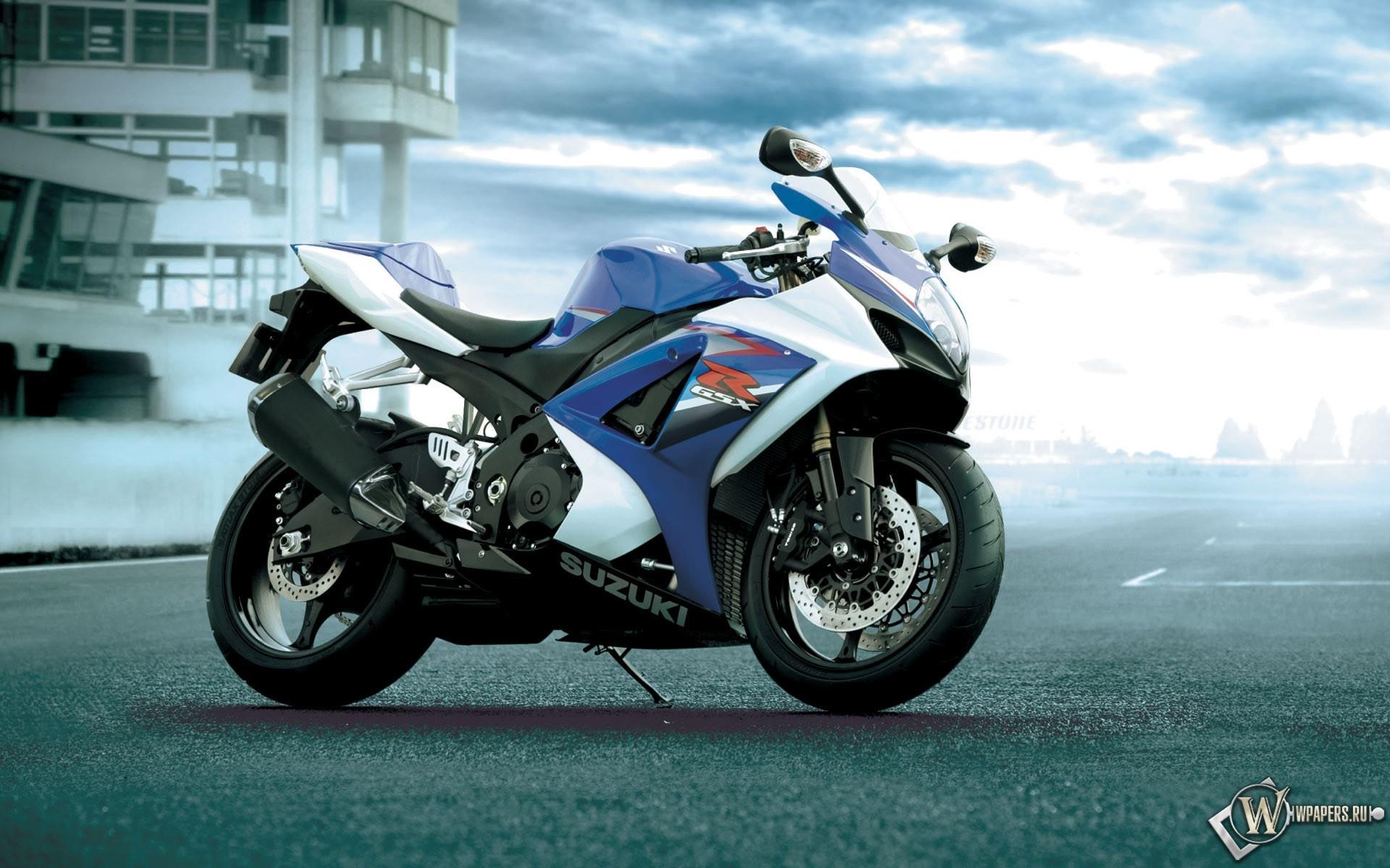 Синий мотоцикл сузуки 1920x1200