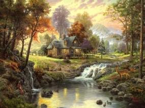 Обои Домик в лесу: Горы, Лес, Вечер, Речка, Домик, Костер, тишина, Природа