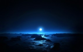 Обои Синее солнце: Солнце, Синий, Природа