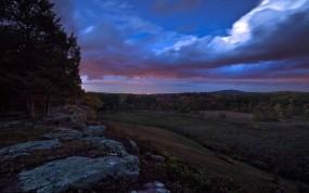 Обои Вечернее небо: Лес, Холмы, Небо, Склон, Природа