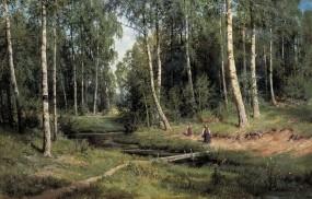 Обои Шишкин ручей в берёзовом лесу: Природа, Картина, Лето, Ручей, Природа