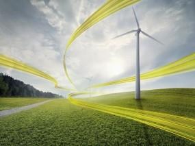 Обои Ветряные мельницы: Ветер, Желтый, Ленты, Природа