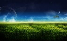 Обои Планета на фоне зелёного луга: Зелень, Природа, Луна, Планета, Природа