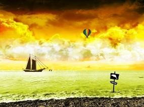 Обои Кругосветное путешествие: Море, Яхта, Шар, Природа