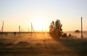 Обои Рассвет на поле: Туман, Поле, Рассвет, Утро, Природа