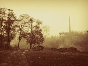 Обои Осенний туман: Город, Туман, Осень, Сепия, Осень