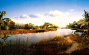 Обои Китайская природа: Река, Тропа, Китай, Птицы, Природа