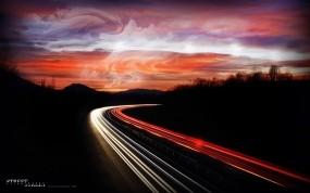 Обои Ночная дорога: Огни, Дорога, Ночь, Природа