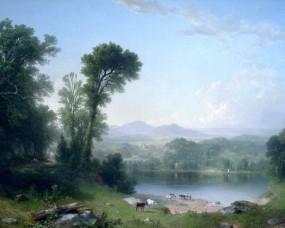 Обои Сельский пейзаж: Берег, Речка, Пейзаж, Водопой, Природа