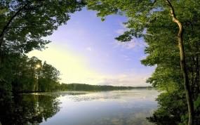 Обои Русская природа: Облака, Деревья, Озеро, Природа