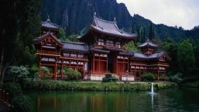 Обои Пагода на берегу: Пруд, Панорама, Пагода, Природа