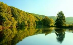 Обои Новая Зеландия: Река, Отражение, Деревья, Небо, Природа