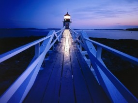 Обои Marshall Point Lighthouse Museum Port Clyde Maine: Вечер, Маяк, Природа