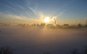 Обои Утренний туман: Зима, Снег, Солнце, Туман, Природа