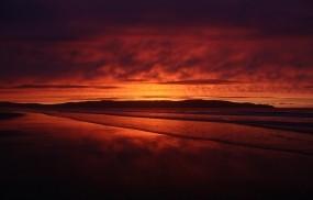 Обои Красный закат: Закат, Небо, Красный, Вода и небо