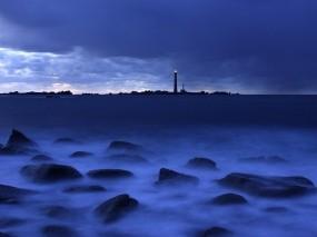 Обои Маяки в море: Море, Камни, Синий, Маяк, Природа