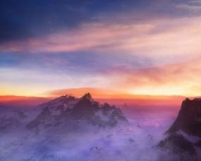 Обои Закат в горах: Облака, Горы, Снег, Горы