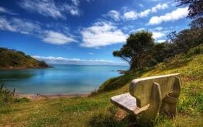 Обои Скамейка у моря: Песок, Природа, Море, Небо, Скамейка, Природа