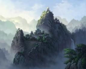 Обои Горы в тумане: Горы, Туман, Небо, Природа