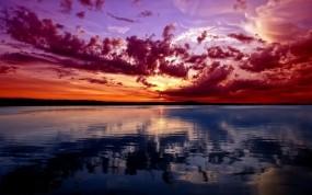 Обои Потрясающий закат: Река, Закат, Небо, Природа