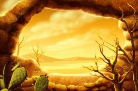 Обои Кактусы в пустыне: Пустыня, Кактус, Природа
