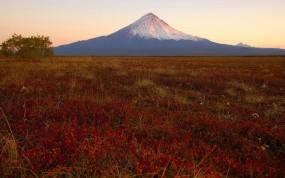 Обои Камчатка: Закат, Вулкан, Камчатка, Природа