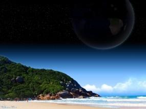 Обои Красивый холм: Горы, Пляж, Волны, Планета, Природа