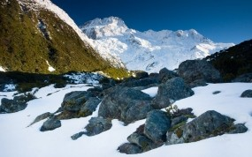 Обои Новая Зеландия: Горы, Снег, Солнце, Природа