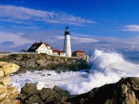 Обои Маяк в Портленде: Город, Море, Маяк, Природа