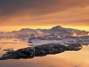 Обои Пролив Диско Гренландия: Лёд, Снег, Камни, Небо, Природа