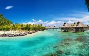 Обои Bora Bora: Пальмы, Море, Океан, Домики, Природа