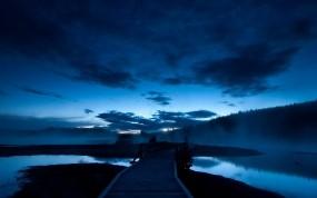 Обои Синяя ночь: Вода, Мост, Ночь, Небо, Синий, Природа