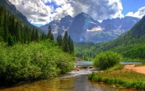 Обои Горы-реки: Река, Горы, Лес, Небо, Лето, Природа