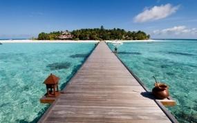 Обои Вид на остров: Пляж, Вода, Мост, Океан, Остров, Природа