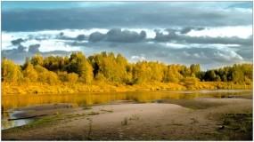 Обои Осенняя пора: Деревья, Осень, Небо, Речка, Осень