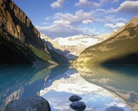 Обои Банфф парк альберта - Канада: Облака, Горы, Отражение, Озеро, Канада, Прочие пейзажи