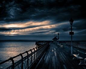 Обои Вечерний пирс: Облака, Вечер, Пирс, Прочие пейзажи