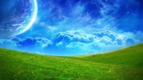 Обои Сказочное поле: Облака, Поле, Планета, Синий, Зелёный, Горизонт, Прочие пейзажи