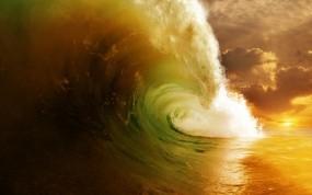 Обои Прибой на закате: Волны, Вода, Море, Океан, Брызги, Прочие пейзажи
