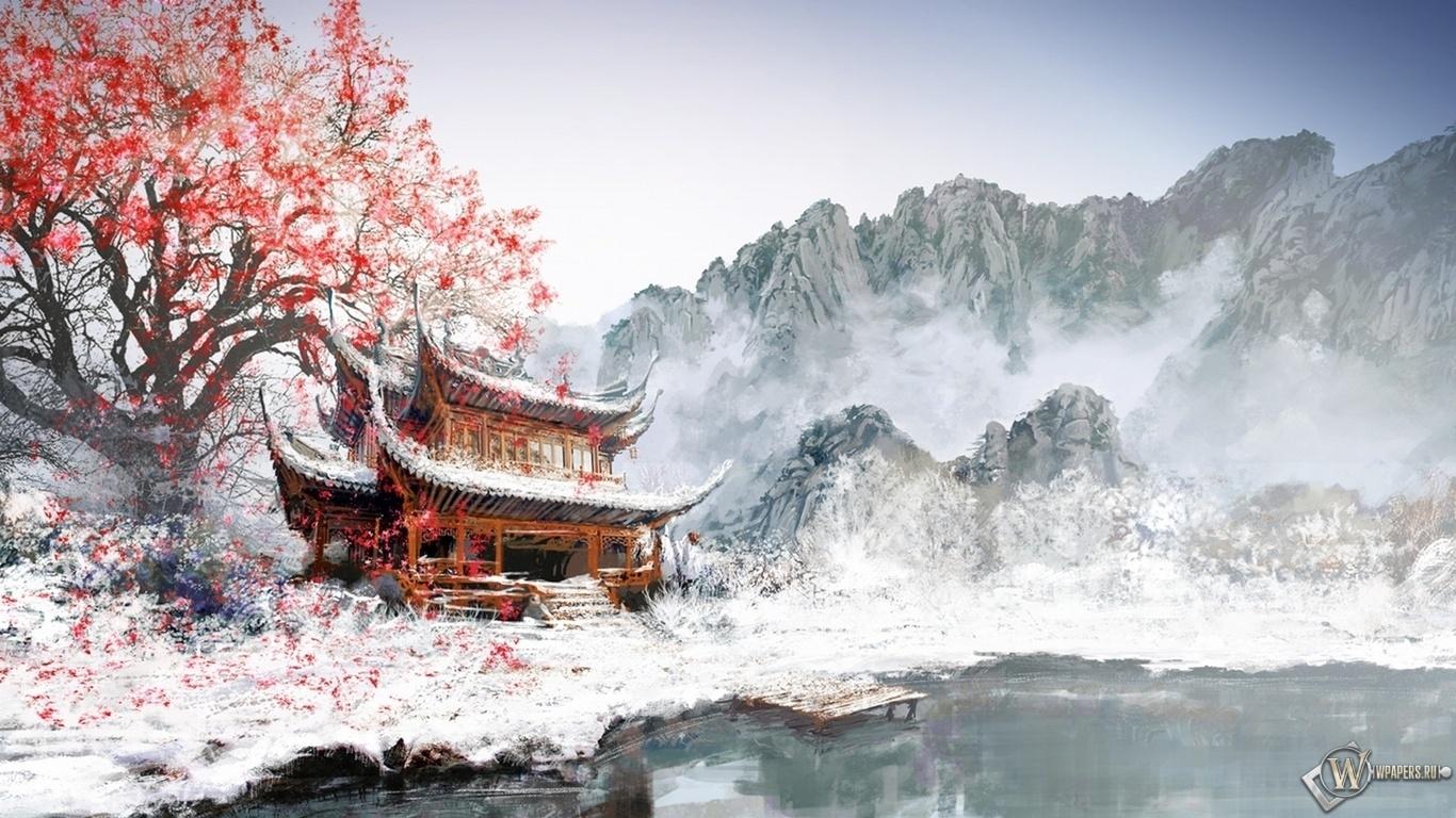 Японский храм 1366x768