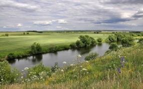 Обои Русское лето: Облака, Деревья, Цветы, Лето, Прочие пейзажи